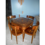 Vintage Italian Marquetry Inlaid Game Table and Four Chairs