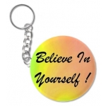 Believe In Yourself Rainbow Round Key Chain