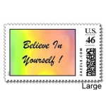 Believe In Yourself Rainbow Postage Stamps